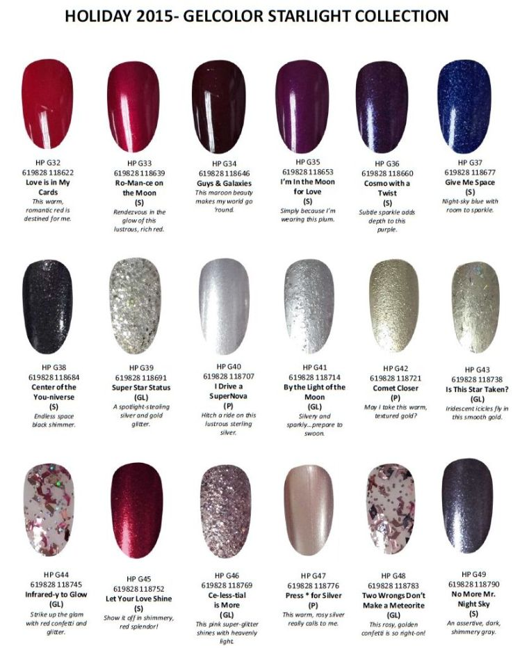 starlight swatches - Opi Gel Color Chart